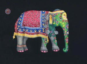Db-green-patterend-elephant-original-painting