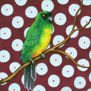 Db-green-patterend-parrot-original-painting