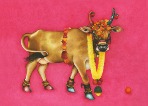 Db-pink-marigold-cow-1-original-painting