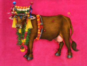 Db-pink-marigold-cow-2-original-painting
